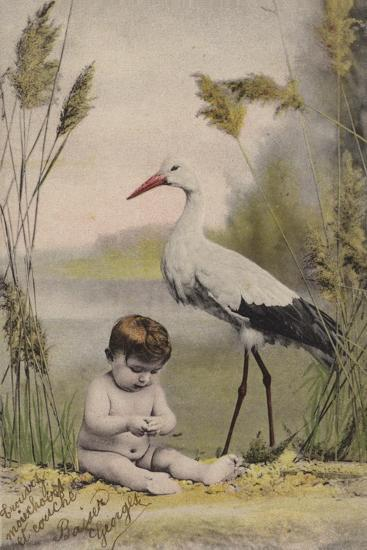 Baby with Stork--Giclee Print