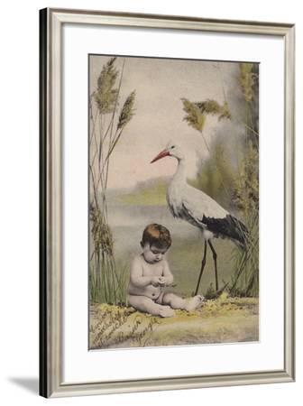 Baby with Stork--Framed Giclee Print