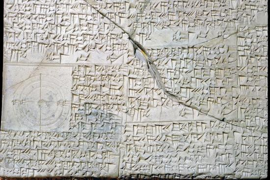 Babylonian clay tablet with Geometrical Problems. Artist: Unknown-Unknown-Giclee Print