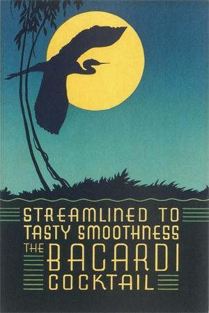 Bacardi Cocktail, Heron in Front of Moon--Art Print