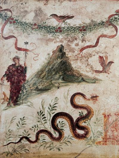 Bacchus and the Vesuvius, 79, 1st Century, Mural (Fresco)--Giclee Print