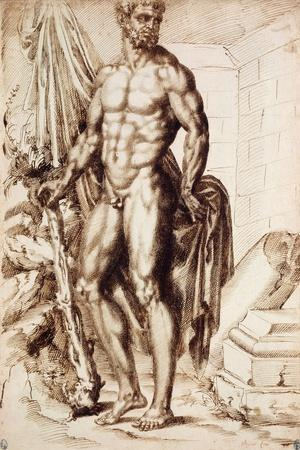Hercules Turned to the Left, Leaning on His Club, Holding Drapery