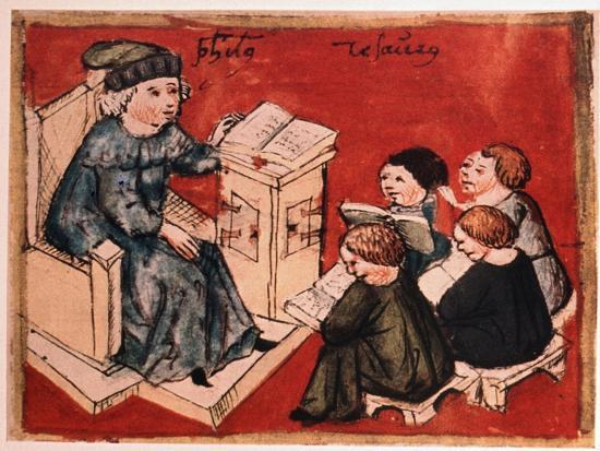 Bachelor Teaching His Pupils, C 15th--Giclee Print