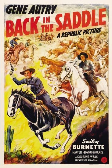BACK IN THE SADDLE, from left: Gene Autry, Smiley Burnette, 1941.--Art Print