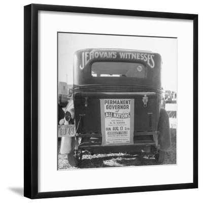 Back of Car Advertising for Jehovah's Witnesses' Activities at Wrigley Field-Loomis Dean-Framed Premium Photographic Print