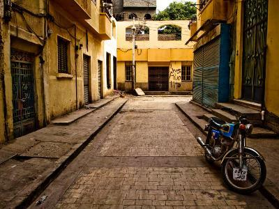 Back Street of Luxor Town, Egypt with Motorbike-Clive Nolan-Photographic Print