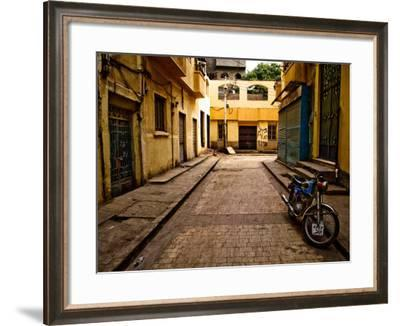 Back Street of Luxor Town, Egypt with Motorbike-Clive Nolan-Framed Photographic Print