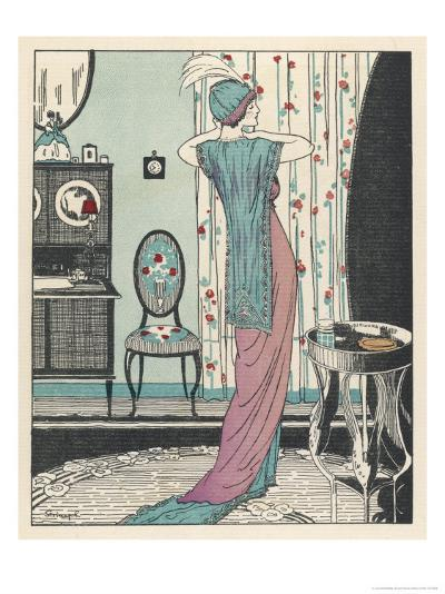 Back View of a High Waisted Draped Gown with Train by Zimmerman-Louis Strimpl-Giclee Print