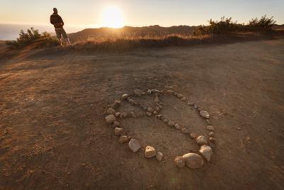 Backbone Trail, Santa Monica Mts National Recreation Area, CA, USA: Hiker Watching Sunset Pacific-Axel Brunst-Photographic Print