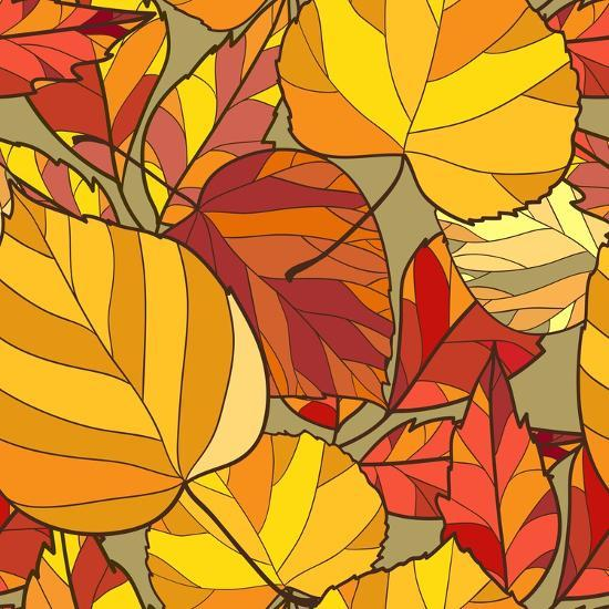 Background with Autumn Leaves-lolya1988-Art Print