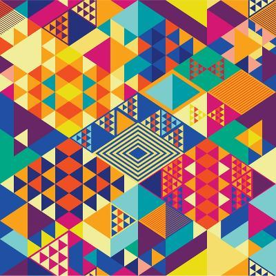 Background with Decorative Geometric and Abstract Elements. Vector Illustration.-emirilen-Art Print