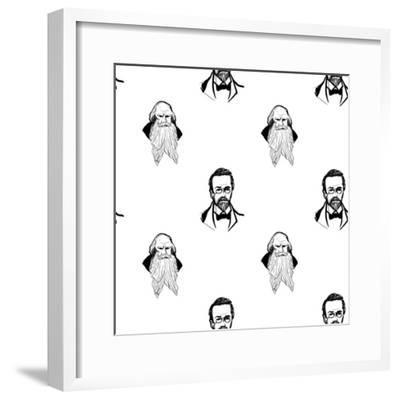 Background with Hand Drawing Inky Portraits of the Great Russian Writers: Chekhov, Tolstoy, Pushkin- Sopelkin-Framed Premium Giclee Print