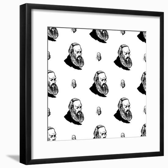 Background with Hand Drawing Inky Portraits of the Great Russian Writers: Dostoevsky. Vector Seamle- Sopelkin-Framed Premium Giclee Print
