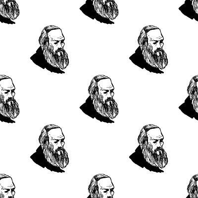 Background with Hand Drawing Inky Portraits of the Great Russian Writers: Dostoevsky. Vector Seamle- Sopelkin-Art Print