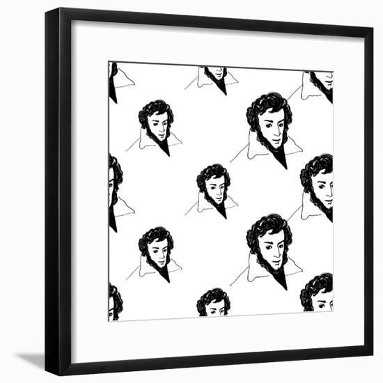 Background with Hand Drawing Inky Portraits of the Great Russian Writers: Pushkin. Vector Seamless- Sopelkin-Framed Premium Giclee Print