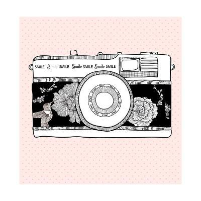Background With Retro Camera. Photo Camera With Flowers And Birds-cherry blossom girl-Art Print