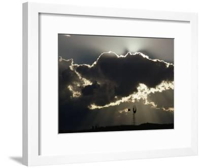 Backlit Clouds Above a Silhouetted Windmill, Graaff-Reinet, South Africa-James P^ Blair-Framed Photographic Print