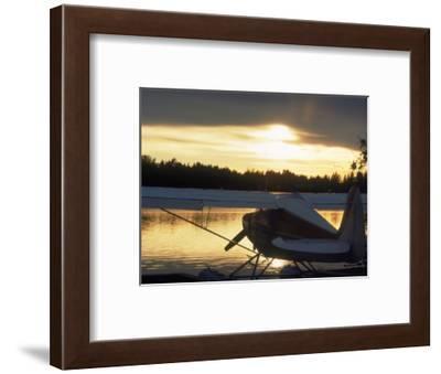 Backlit Floatplane, AK-Jim Oltersdorf-Framed Photographic Print