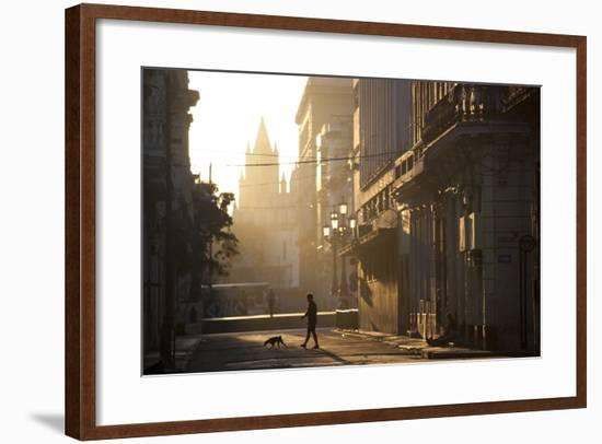 Backlit Street at Dawn with People in Semi-Silhouette-Lee Frost-Framed Photographic Print