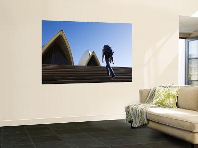 Backpacker Climbing Steps of Sydney Opera House-Andrew Watson-Wall Mural
