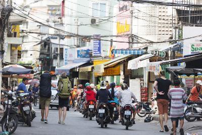 Backpackers on City Street, Ho Chi Minh City (Saigon), Vietnam, Indochina, Southeast Asia, Asia-Christian Kober-Photographic Print