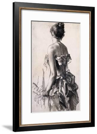 Backview of a Woman-Adolph		 Menzel-Framed Giclee Print