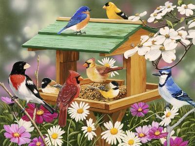 Backyard Birds Spring Feast-William Vanderdasson-Giclee Print