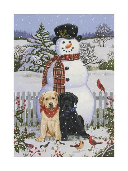 Backyard Snowman with Friends-William Vanderdasson-Giclee Print