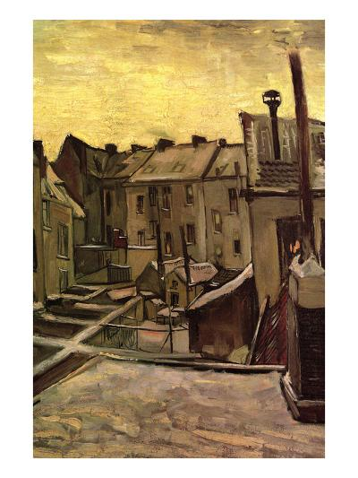 Backyards of Old Houses in Antwerp in the Snow-Vincent van Gogh-Art Print
