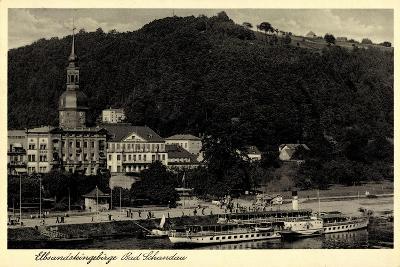 Bad Schandau,Dampfer Leipzig, Elbe, Ort, Kirche,Berg--Giclee Print