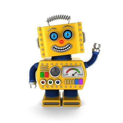 Cute Yellow Vintage Toy Robot over White Background Waving Hello