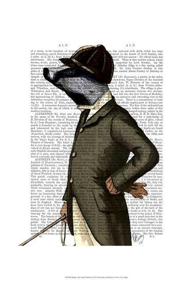 Badger The Rider Portrait-Fab Funky-Art Print