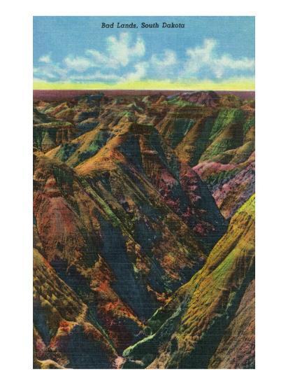 Badlands National Park, South Dakota, Aerial View of the Badlands-Lantern Press-Art Print