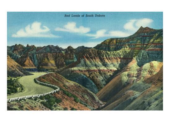 Badlands National Park, South Dakota, General View of the Badlands-Lantern Press-Art Print