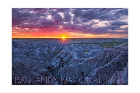 Badlands National Park, South Dakota - Purple Sunrise-Lantern Press-Art Print