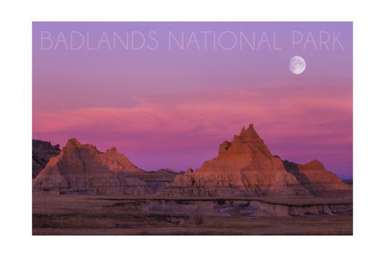 Badlands National Park, South Dakota - Sunset and Moon-Lantern Press-Art Print