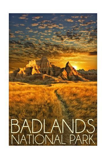 Badlands National Park, South Dakota Sunset-Lantern Press-Art Print