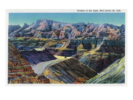 Badlands National Park, South Dakota, View of the Erosion on the Rocks-Lantern Press-Art Print