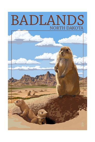 Badlands, North Dakota - Prairie Dogs-Lantern Press-Art Print