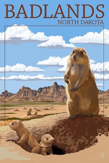 Badlands, North Dakota - Prairie Dogs-Lantern Press-Wall Mural