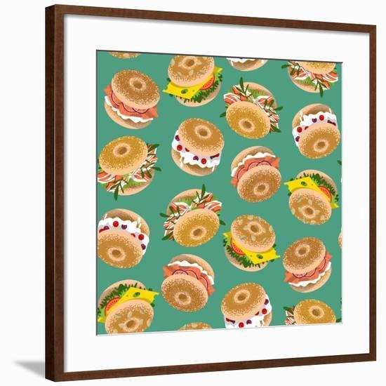Bagels with Various Topping. Seamless Background Pattern. Vector Illustration-NGvozdeva-Framed Art Print