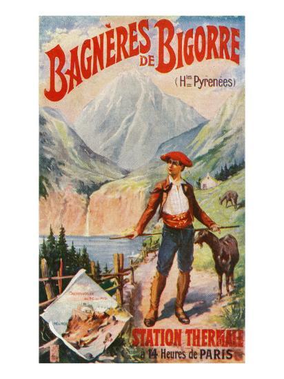 Bagneres-De-Bigorre, France - Scenic View in the Pyrenees, c.1920-Lantern Press-Art Print