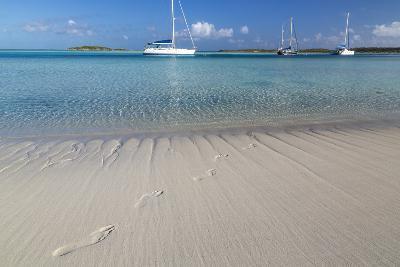 Bahamas, Exuma Island, Cays Land and Sea Park. Footprints and Sailboat-Don Paulson-Photographic Print