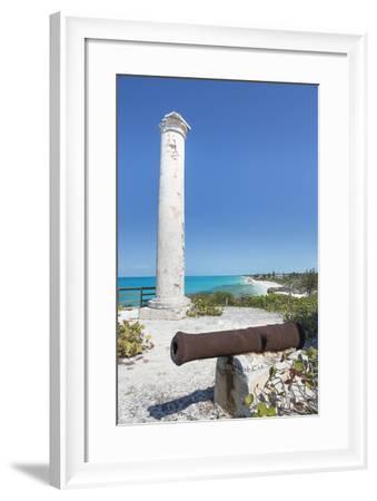 Bahamas, Little Exuma Island. Cannon and Column Marking Salt Ponds-Don Paulson-Framed Photographic Print