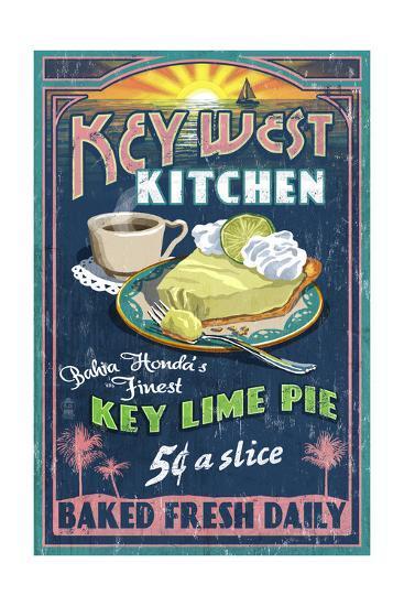 Bahia Honda, Florida Keys - Key Lime Pie Sign-Lantern Press-Art Print