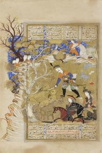 Bahram Gur Seizes the Crown of Kingship from Between Two Lions, C.1630