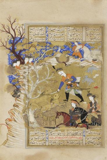 Bahram Gur Seizes the Crown of Kingship from Between Two Lions, C.1630--Giclee Print