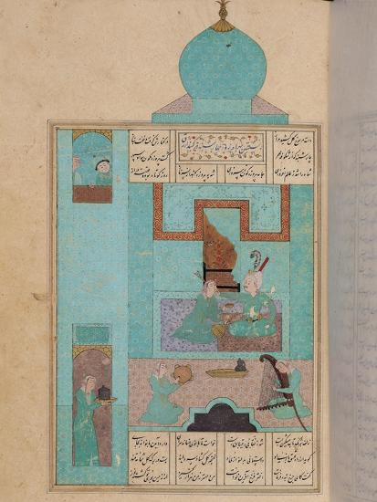 """Bahram Visits a Princess in the Turquoise Pavilion, to """"The Seven Princesses,"""" 1199, by Elias--Giclee Print"""