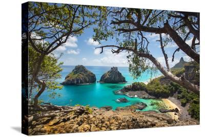 Baia Dos Porcos Beach and the Two Brothers Rock Formations-Alex Saberi-Stretched Canvas Print