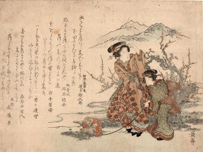 Baika Saru Hiku Musume-Keisai Eisen-Giclee Print